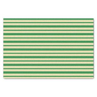 Papier Mousseline Rayures vert-foncé et beiges épaisses et minces