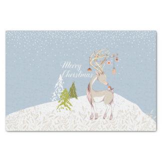 Papier Mousseline Renne mignon et Robin dans la neige
