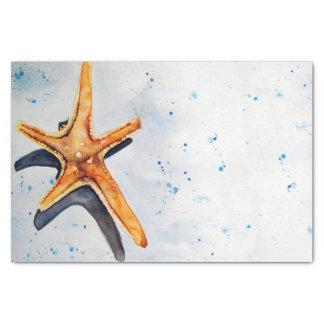 Papier Mousseline Rôle calme avec étoile de mer en aquarelle