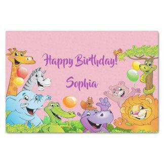 Papier Mousseline Rose de sourire d'animaux de fête d'anniversaire