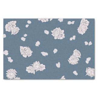 Papier Mousseline Roses bleus et blancs