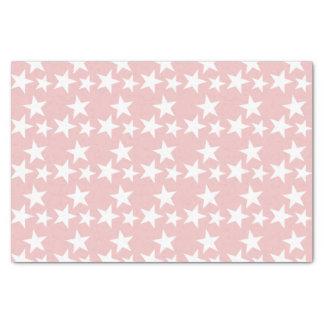 Papier Mousseline Roses pâles avec les étoiles blanches