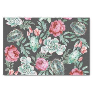 Papier Mousseline Roses roses et motif succulent de cactus sur le