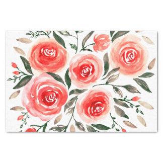 Papier Mousseline Roses rouge-rose romantiques d'aquarelle floraux