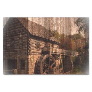 Papier Mousseline Roue d'eau en bois de moulin de ferme de grange
