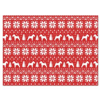 Papier Mousseline Rouge de motif de Noël de silhouettes de gallois
