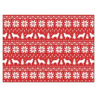 Papier Mousseline Rouge enduit plat de motif de Noël de chiens