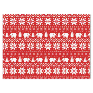 Papier Mousseline Rouge mignon de motif de Noël d'éléphants