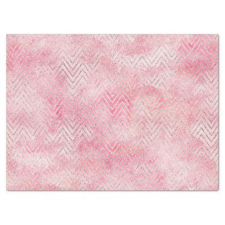 Papier Mousseline Rougissent l'aquarelle argentée rose de Chevron de