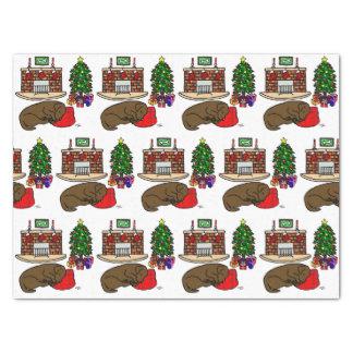 Papier Mousseline Sommeil de Labrador de chocolat de Noël