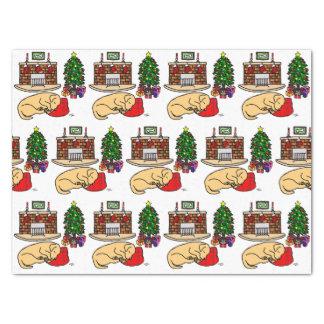 Papier Mousseline Sommeil jaune de Labrador de Noël