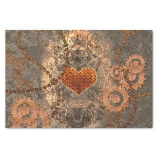 Papier Mousseline Steampunk, coeur merveilleux fait de métal rouillé