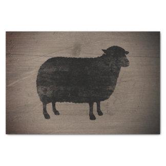 Papier Mousseline Style rustique de silhouette de moutons noirs