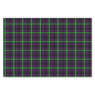 Papier Mousseline Tartan vert pourpre et au néon moyen 01
