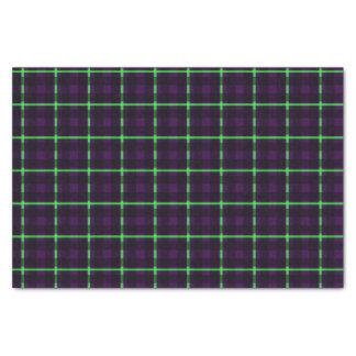 Papier Mousseline Tartan vert pourpre et au néon moyen 02