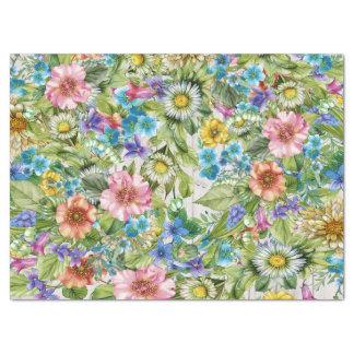 Papier Mousseline Tissu assez floral avec l'arrière - plan en bois