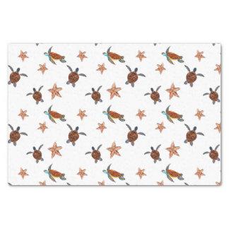 Papier Mousseline Tortues de mer mignonnes et poissons d'étoile