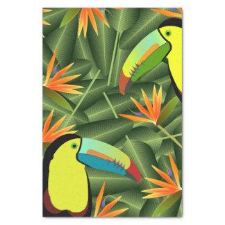Papier Mousseline Toucans et oiseaux tropicaux des fleurs de paradis