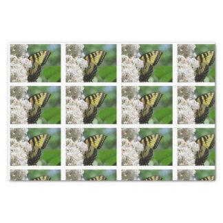 Papier Mousseline Tuiles blanches de lilas de papillon jaune pour le