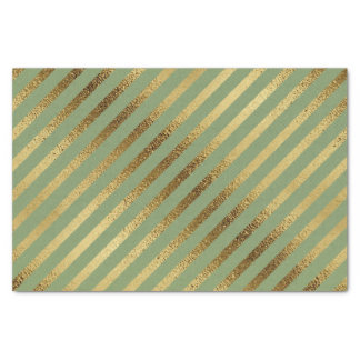 Papier Mousseline Vert de mousse avec les rayures diagonales d'or