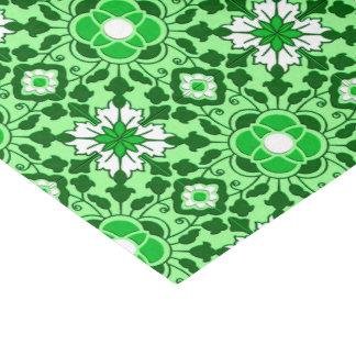 Papier Mousseline Vert marocain floral de tuile, d'émeraude et de