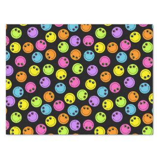 Papier Mousseline Visages souriants colorés sur le noir