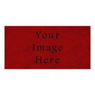 Papier parcheminé rouge de Noël vintage de vacance Photocarte Customisée