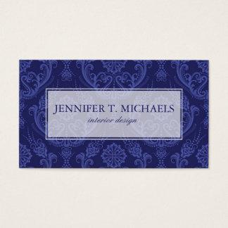 Papier peint floral bleu de luxe de damassé cartes de visite