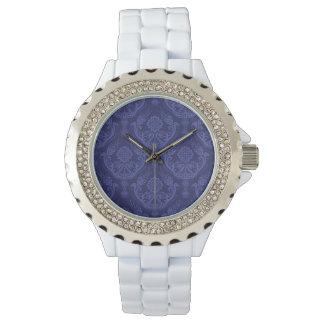 Papier peint floral bleu de luxe de damassé montres bracelet