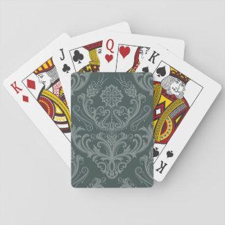 Papier peint floral vert de luxe de damassé cartes à jouer