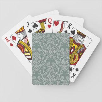 Papier peint floral vert jeu de cartes