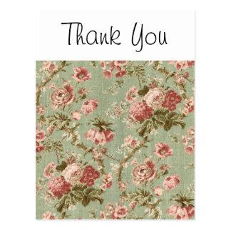 Papier peint floral vintage, rose sur le vert carte postale