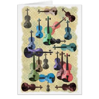 Papier peint multicolore de violon carte de vœux