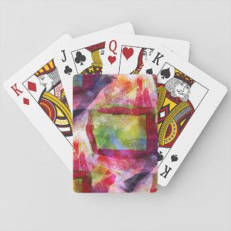 Papier peint vert et rouge abstrait jeux de cartes