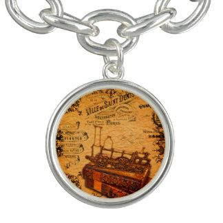 Papier peint vintage de train de Steampunk Bracelet Avec Breloques