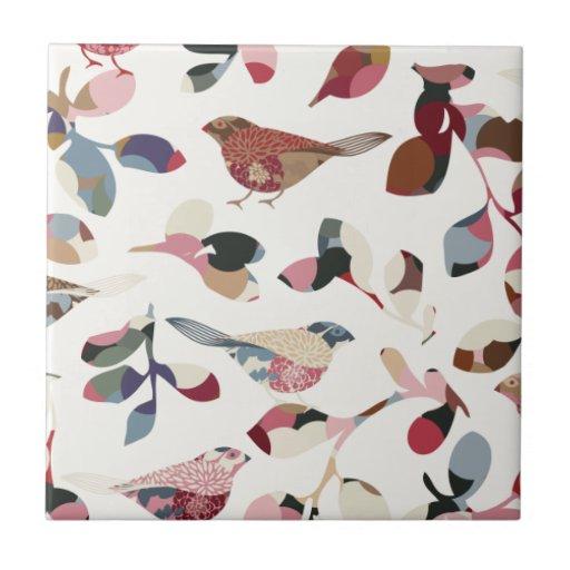 Papier peint vintage d 39 oiseau carreaux zazzle for Papier peint carreaux