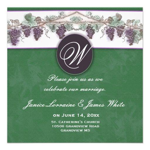 Papier réutilisé de raisins de cuve de monogramme invitations personnalisées
