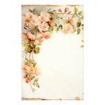 Papier rose vintage de papeterie de peinture de vi motifs pour papier à lettre