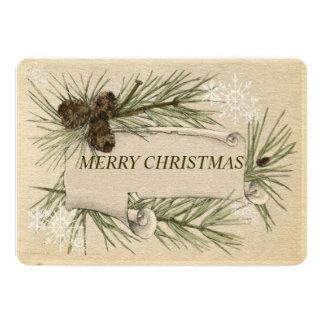Papier vintage, cônes de pin de carte de Noël de Carton D'invitation 12,7 Cm X 17,78 Cm