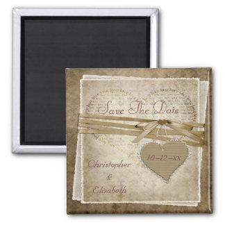 Papier vintage d'amour et économies de coeur le magnet carré