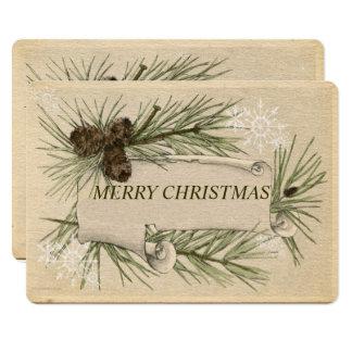 Papier vintage, vacances, Noël, coutume Carton D'invitation 12,7 Cm X 17,78 Cm