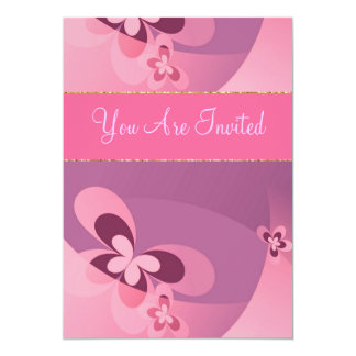 Papillon abstrait rose carton d'invitation  12,7 cm x 17,78 cm