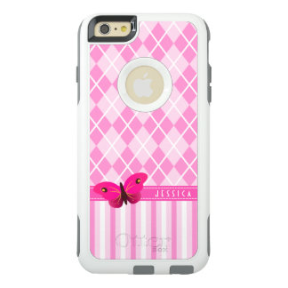 Papillon assez rose mignon de Jacquard et de Coque OtterBox iPhone 6 Et 6s Plus