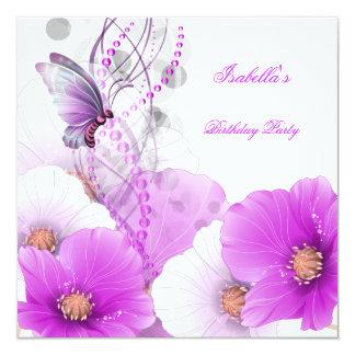 Papillon blanc lilas assez floral de fête carton d'invitation  13,33 cm