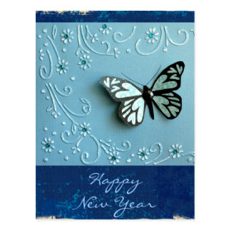 Papillon bleu carte postale