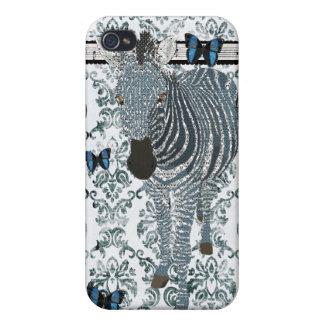 Papillon bleu de Boho et damassé grunge C de zèbre Coque iPhone 4/4S