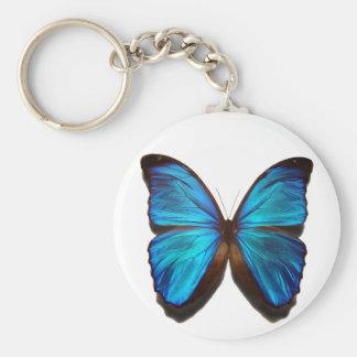 Papillon bleu de Morpho Porte-clé Rond