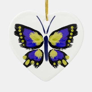 Papillon bleu et jaune ornement cœur en céramique