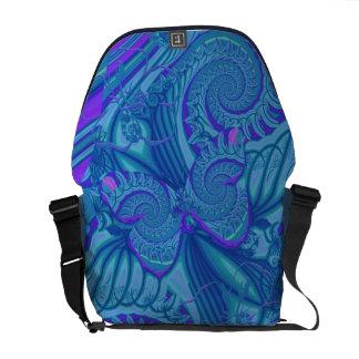 Papillon bleu et spirales, sac messenger artistiqu besaces