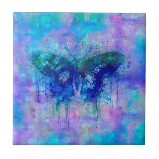 Papillon bleu petit carreau carré